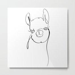 One Line Llama Metal Print