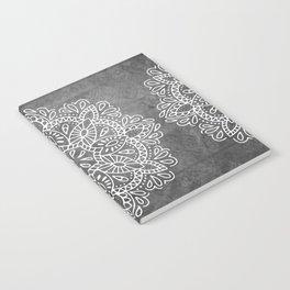 Mandala Vintage White on Ocean Fog Gray Notebook