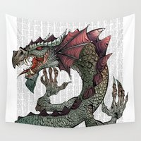 dragon ball Wall Tapestries featuring dragon by Erdogan Ulker