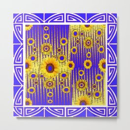 ART DECO GOLDEN SUNFLOWERS BLUE & WHITE ABSTRACT Metal Print