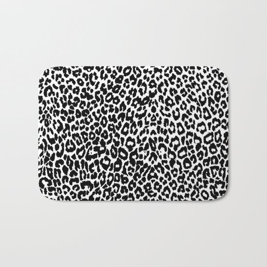 Leopard Pattern (Black and White) Bath Mat