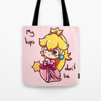 princess peach Tote Bags featuring Princess peach by HeliPeach