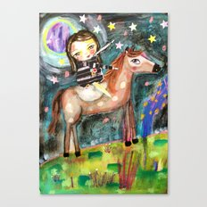 Riding a horse Canvas Print