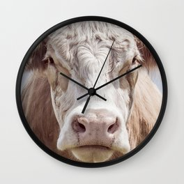 Animal Photography | Cow Portrait Colour | Minimalism | Farm Animals Wall Clock