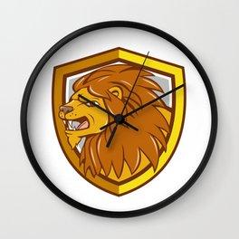 Angry Lion Head Roar Shield Cartoon Wall Clock