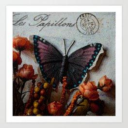 Butterfly Art, Papillions, Mixed Media Collage Art Art Print