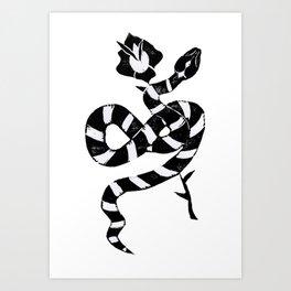 Snake & flower Art Print