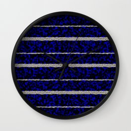 Silver Stripes with a Blue Plasma Background Wall Clock