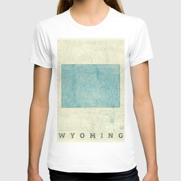 Wyoming State Map Blue Vintage T-shirt