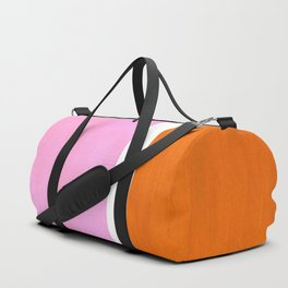 Pastel Neon Pink Yellow Ochre Mid Century Modern Abstract Minimalist Rothko Color Field Squares Duffle Bag
