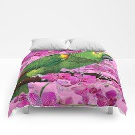 PINK TROPICAL GREEN PARROT & FUCHSIA ORCHIDS  ART Comforters