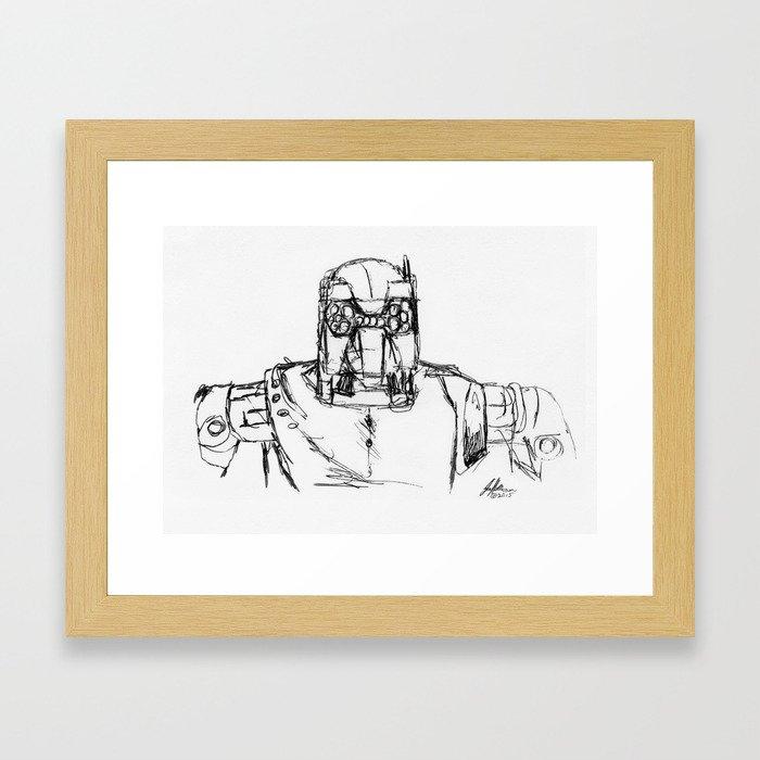 Warbot Sketch #030 Framed Art Print