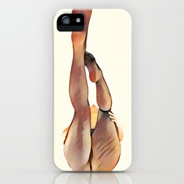 8283s-SLG Legs Up Woman in Mesh Stockings Watercolor Render iPhone Case
