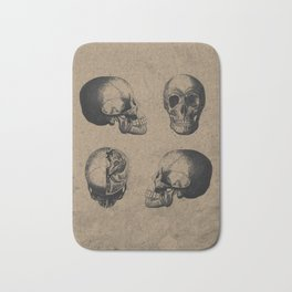 Skull View - Antique Vintage Style Medical Etching Bath Mat