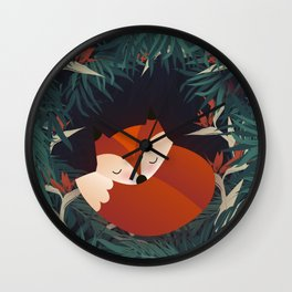 Cute Sleping Forest Fox Wall Clock