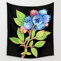 maine Wall Tapestries featuring Wild Maine Blueberries by Patricia Shea Designs
