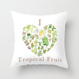 Tropical Fruit Love Heart Throw Pillow