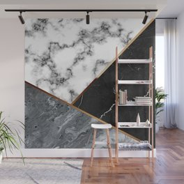Elegant Silver Marble with Bronze Lining Wall Mural