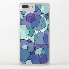 Converging Hexes - teal and purple Clear iPhone Case