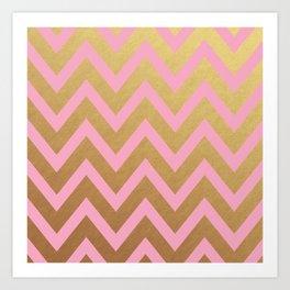 pink and gold chevron Art Print