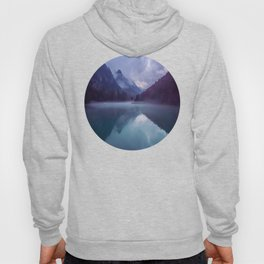 Mid Century Modern Round Circle Photo Reflective Purple And Blue Mountain Silhouette With Lake Hoody