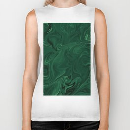 Modern Cotemporary Emerald Green Abstract Biker Tank