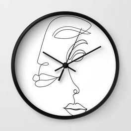 Two Faced Romantic Lovers Illustration Wall Clock