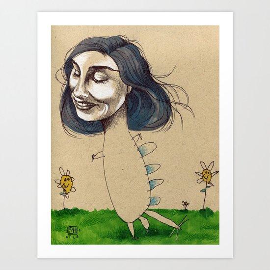 DINOSAUR GIRL Art Print