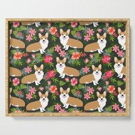 Corgi Hawaiian Print Tropical hibiscus flower cute corgi dog pattern Serving Tray