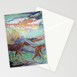Man with a Horse, Nighttime landscape painting by William Sommer Stationery Cards