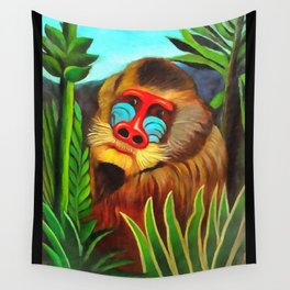 Henri Rousseau Mandrill In The Jungle Wall Tapestry