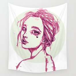Pink Girl in a Green Circle Wall Tapestry