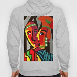 African Traditional Tribal Women Abstract Art Canvas Painting Series - 4 Hoody