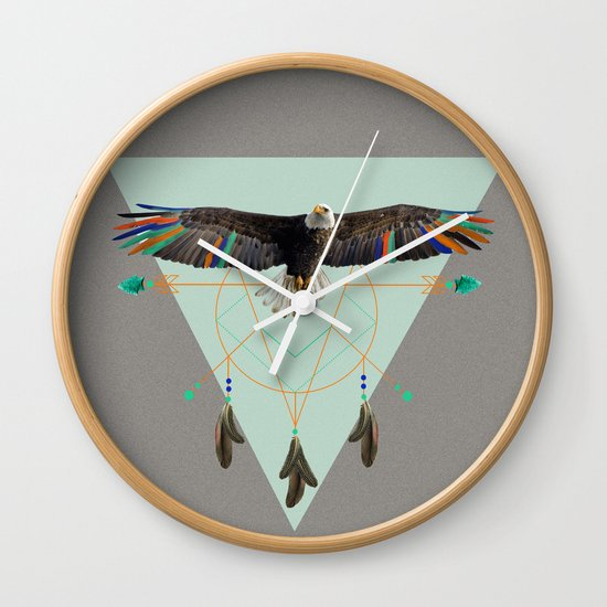 The indian eagle is watching over Po's dreamcatcher Wall Clock