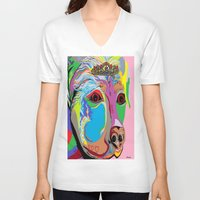 rottweiler V-neck T-shirts featuring Lady Rottweiler by EloiseArt