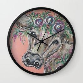 Bashful Baby Cow Wall Clock