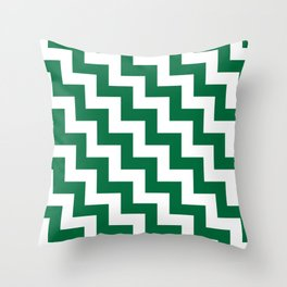 White and Cadmium Green Steps LTR Throw Pillow