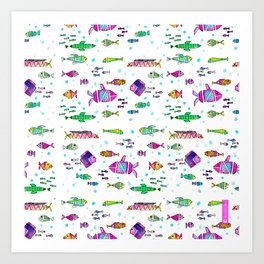 Catch all the fish! Tropical and colorful fishes swim in shoals Art Print