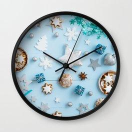 Blue Christmas decoration on wood Wall Clock