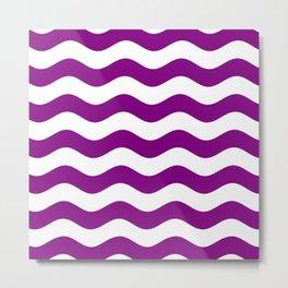 Wavy Stripes (Purple/White) Metal Print