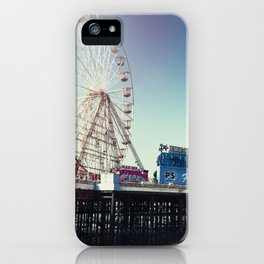 Ferris wheel on Blackpool Pier, hot summer morning. iPhone Case