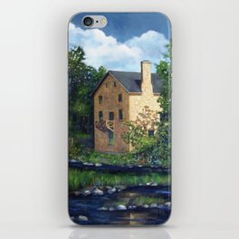 Old Stone Grist Mill, Acrylic Painting iPhone Skin