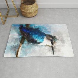 Humming Bird Blue Teal Bird Wildlife Animal Watercolor Artistic Painting Rug