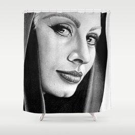 Sophia Loren Drawing By Faten  Shower Curtain