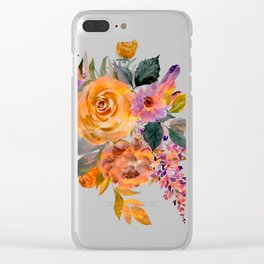 Watercolor Floral Poppies Clear iPhone Case