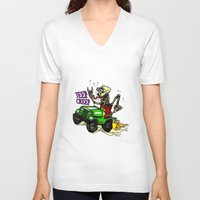 jeep V-neck T-shirts featuring Jeep Creep by CreepWerks