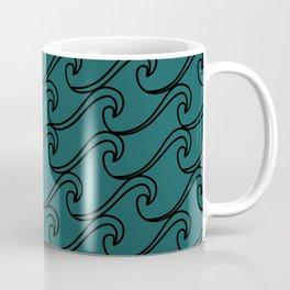Sea Waves at Night Pattern - Dark Turquoise Coffee Mug