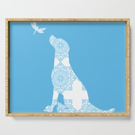 Labrador Retreiver Dog On Blue Colour Serving Tray