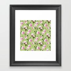 Peonies in Her Dreams - Light Green Framed Art Print
