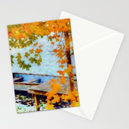 Boat Under Falling Leaves Stationery Cards